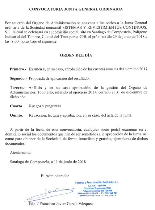 Convocatoria Junta General Ordinaria - 29 de Junio de 2018