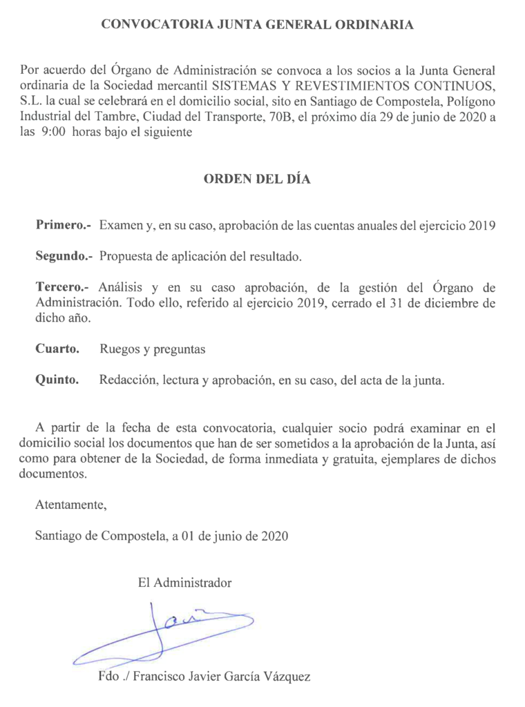 Convocatoria Junta General Ordinaria (Junio 2020)