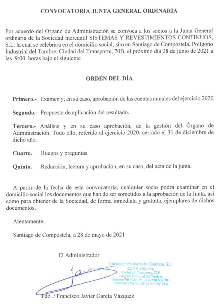 Convocatoria Junta General Ordinaria (Junio 2021)